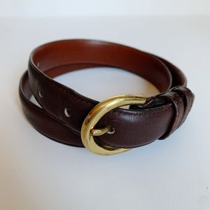 Coach Leather Belt Mahogany Gold Brass Size Small